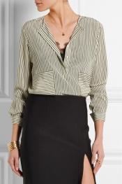 ALTUZARRA Carnegie pinstriped silk crepe de chine shirt