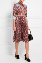 GUCCI Paisley-print plissé silk-satin dress