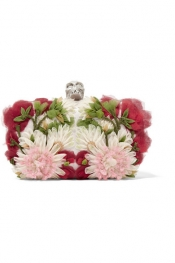 ALEXANDER MCQUEEN Skull floral-appliquéd tulle and satin box clutch