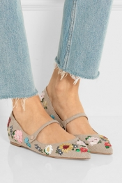 TABITHA SIMMONS Hermione Meadow floral-embroidered linen point-toe flats