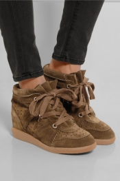 ISABEL MARANT Baskets compensées en daim The Bobby