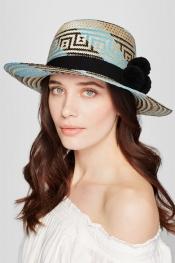 YOSUZI Chapeau de soleil en paille tressée orné de pompons