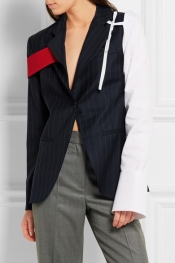JACQUEMUS Cotton-paneled pinstriped wool-twill blazer