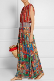 ALICE + OLIVIA Lorelle smocked printed voile maxi dress