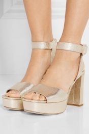 MIU MIU Metallic textured-leather platform sandals