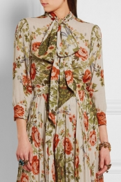 GUCCI FOR NET-A-PORTER Pussy-bow floral-print silk blouse