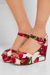 DOLCE & GABBANA Sandales compensées en broché à motif fleuri