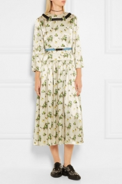 TOGA Belted floral-print satin dress