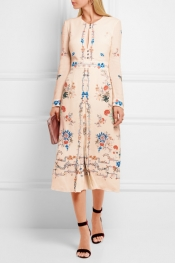 VILSHENKO Jerry floral-print silk crepe de chine dress