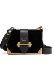 PRADA Cahier leather-trimmed velvet shoulder bag