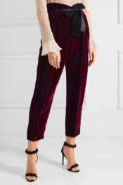 PHILOSOPHY DI LORENZO SERAFINI Bow-embellished velvet tapered pants