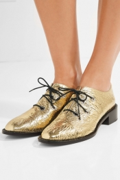 PROENZA SCHOULER Metallic crinkled-leather brogues