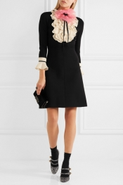 GUCCI Organza-embellished ruffled wool mini dress