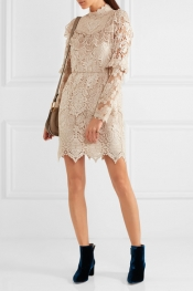 ANNA SUI Romantique ruffled crochet-lace mini dress