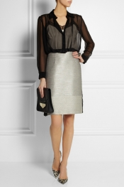 ALBERTA FERRETTI Silk-chiffon and tweed dress