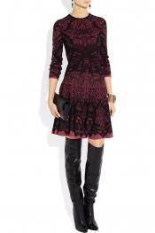 ALEXANDER MCQUEEN Intarsia wool-blend dress