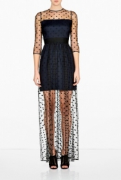 ALICE BY TEMPERLEY CELIA POLKA DOT MESH MAXI DRESS
