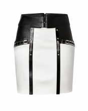 ANTHONY VACCARELLO Embellished Mini-Skirt with Leather Trim in Black/White