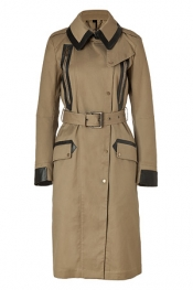 BELSTAFF Putty Daventry Trench Coat with Leather Trim