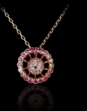 Pendant My Pretty, pink gold, pink saphires and diamonds