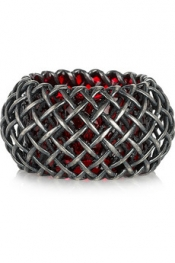BOTTEGA VENETA Oxidized-silver cage ring
