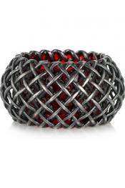 BOTTEGA VENETA Oxidized-silver cage ring
