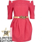 Bright pink jacquard belted dress