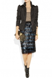 BURBERRY PRORSUM Tinsel-striped pencil skirt