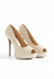 Lensil Studded Peep Toe Heels