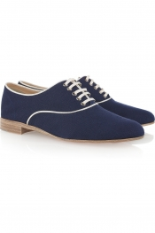 CHRISTIAN LOUBOUTIN Fred grosgrain-trimmed canvas brogues