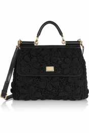 DOLCE & GABBANA Miss Sicily crochet and leather shoulder bag