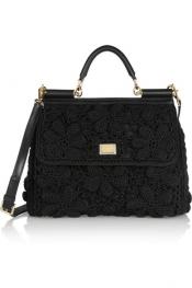 DOLCE & GABBANA Miss Sicily crochet and leather shoulder bag