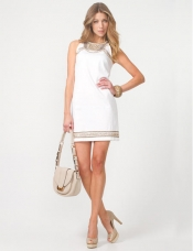 Cotton Sateen Beaded Tunic dress with pumps