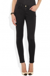 FRAME DENIM Le Luxe Noir stretch-satin twill skinny jeans