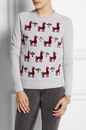 J.CREW Embellished llama-intarsia wool sweater