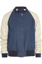 J.CREW Leather-sleeved denim varsity jacket