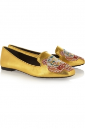 KENZO Brenda tiger-embroidered metallic leather slippers