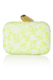 KOTUR Morley neon lace and faux suede box clutch