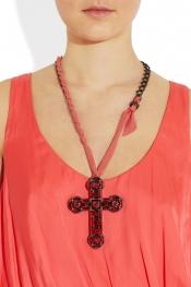 LANVIN Swarovski crystal and glass cross necklace