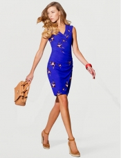 Blue wrap dress, satchel and wedge pump look