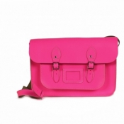 Leather Satchel Rose Fluo