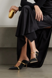 Malone Souliers - Maureen 70 Metallic Leather-trimmed Satin Mules - Black