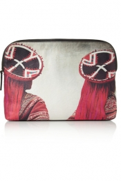 MARIO TESTINO FOR MATE Uru printed textured-satin clutch