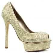 Lesilla Shoes in golden satin and Swarovski crystalls