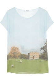 MOSCHINO CHEAP AND CHIC Landscape-print silk top