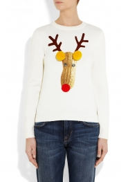 MOSCHINO Reindeer appliquéd knitted wool sweater