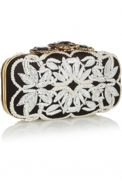 OSCAR DE LA RENTA Crown Goa embellished satin box clutch