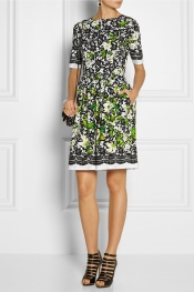 OSCAR DE LA RENTA Printed stretch-cotton poplin dress