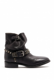 ASH BLACK MATTE LEATHER STUDDED BUCKLE VISCOUS BOOTS