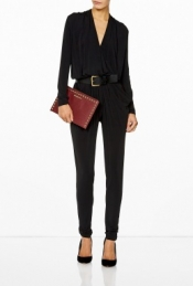 MICHAEL MICHAEL KORS LONG SLEEVE BELTED JUMPSUIT